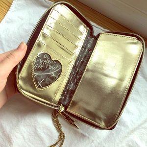 Betsey Johnson wristlet wallet gold & black